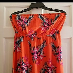Strapless tropical beach maxi dress